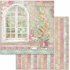 """Papel 12x12"""" Stampería Orchids and Cats Window"""
