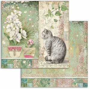 """Papel 12x12"""" Stampería Orchids and Cats and Vase"""