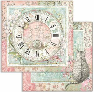 """Papel 12x12"""" Stampería Orchids and Cats and Clock"""
