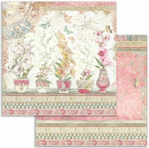 """Papel 12x12"""" Stampería Orchids and Cats Vases"""