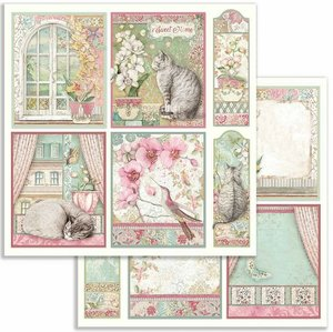 """Papel 12x12"""" Stampería Orchids and Cats Cards"""