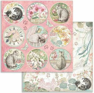 """Papel 12x12"""" Stampería Orchids and Cats Rounds"""