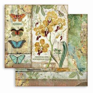 """Papel 12x12"""" Stampería Amazonia Orquídea y mariposa"""