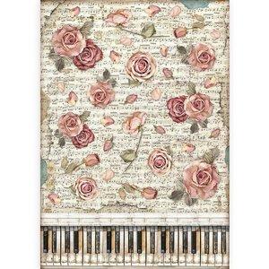 Papel de arroz A3 Stampería Passion Rosas y Piano