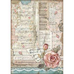 Papel de arroz A4 Stampería Passion Rosas y Música