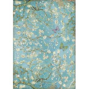 Papel de arroz A4 Stampería Atelier des Arts Fondo azul