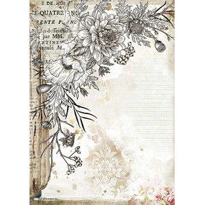 Papel de arroz A4 Stampería Romantic Journal Flor
