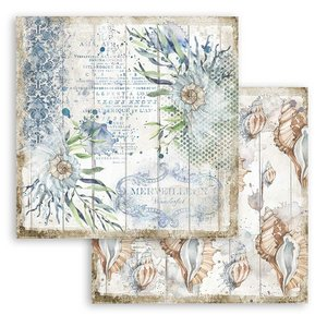 "Papel 12x12"" Stampería Romantic Sea Dreams Conchas"