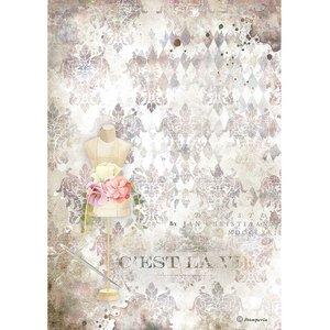 Papel de arroz A4 Stampería Romantic Threads Maniquí