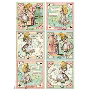 Papel de arroz A4 Stampería Alice Cards