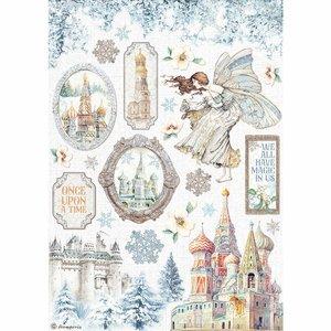 Papel de arroz A4 Winter Tales Elements Castle