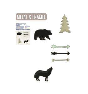 Set de pegatinas de metal y resina Woodland