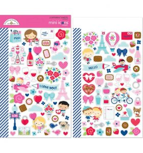 Pegatinas Mini Icons Doodlebug French Kiss