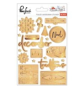 Pegatinas de madera con foil December Days
