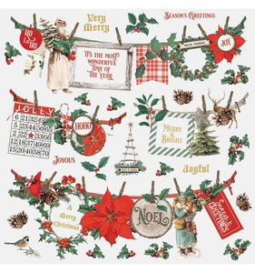 """Pegatinas Banners 12x12"""" Simple Vintage Country Christmas"""