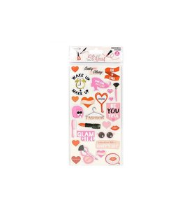 "Pegatinas Chipboard 6x12""  Kiss & Makeup"