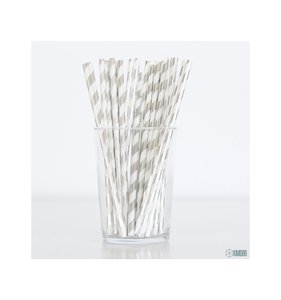 Pajitas rayas foil plateado holográfico