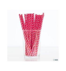 Pajitas rojas con lunaritos blancos