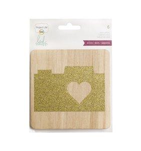 Tarjetas de madera y glitter Heidi Swapp