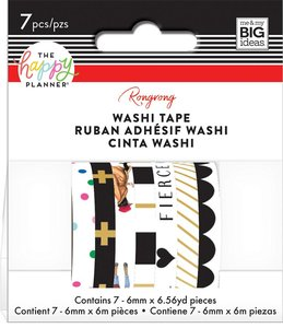 Set Washi Tape Happy Planner Rongrong Black and White