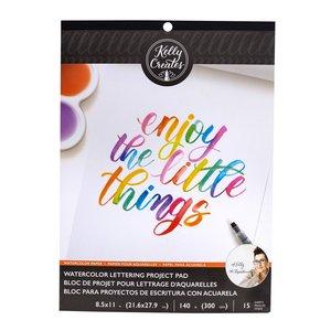 Kelly Creates Bloc hojas blancas para practicar Lettering con acuarelas
