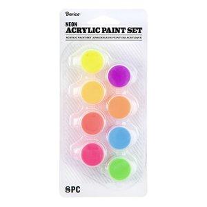 Set de pintura acrílica 8 colores neon