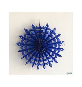 Abanico Copo de nieve Azul oscuro 25 cm