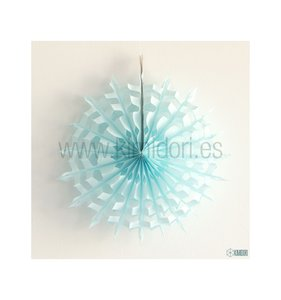 Abanico Copo de nieve Celeste 25 cm