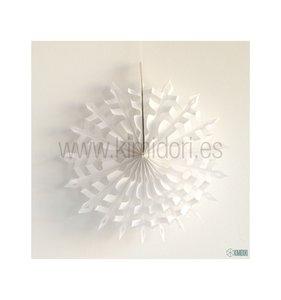 Abanico Copo de nieve Blanco 30 cm