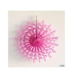Abanico Copo de nieve Rosa chicle 30 cm