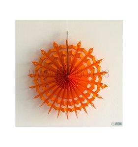 Abanico Copo de nieve Naranja 30 cm