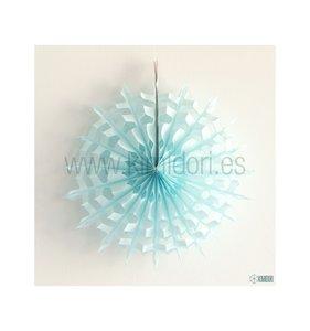 Abanico Copo de nieve Celeste 30 cm