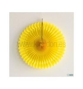 Abanico Decorado Amarillo 30 cm