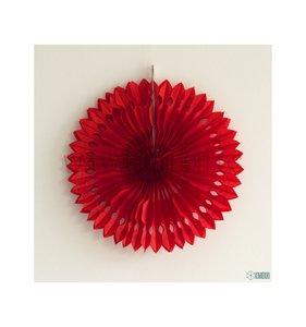 Abanico Decorado Rojo 30 cm