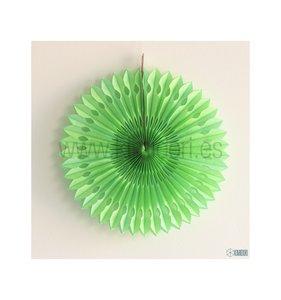 Abanico Decorado Verde Lima 30 cm