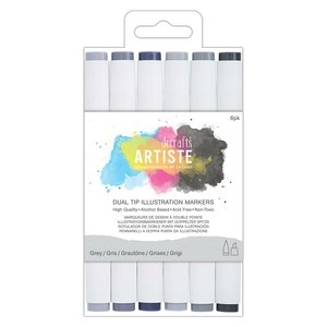 Set 6 rotuladores para ilustración doble punta Artiste Greys