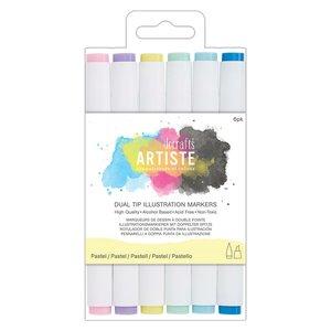 Set 6 rotuladores para ilustración doble punta Artiste Pastel