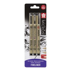 Set Pigma Micron Fineliner 01-05 + Brush Pen de regalo