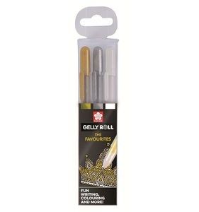 Set 3 Gelly Roll Oro - Plata - Blanco