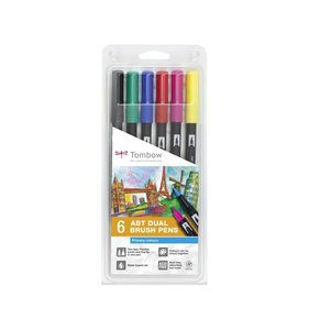 Set 6 rotuladores Tombow Dual Brush Primary Colors