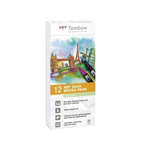 Set 12 rotuladores Tombow Dual Brush Pastel Colors