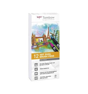 Set 12 rotuladores Tombow Dual Brush Grey Colors