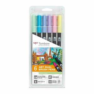 Set 6 rotuladores Tombow Dual Brush Pastel Colors