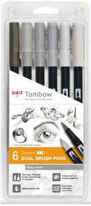 Set 6 rotuladores Tombow Dual Brush Gray Colors