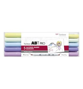 Set 5 rotuladores Tombow Alcohol ABT PRO DUAL Brush Colores pastel