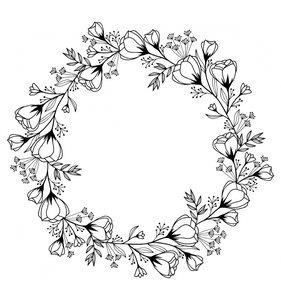 Sello de madera corona de flores