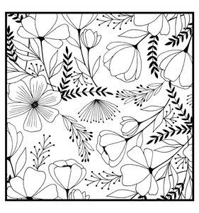 Sello de madera fondo flores
