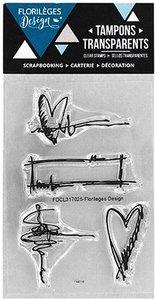 Set de sellos acrílicos Florilèges PETITS GRIBOUILLIS