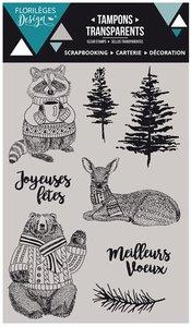 Set de sellos acrílicos Florilèges HIVER COSY