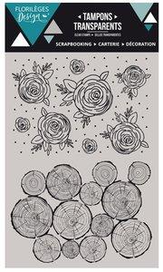Set de sellos acrílicos Florilèges BOIS DE ROSE